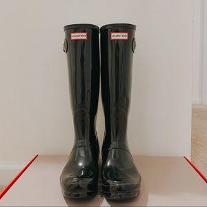 Hunter original tall black gloss rain boot